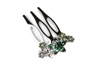 TreJio hair comb San Francisco-style from white gold with green tourmalines